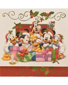 julepakkekort med Anders And, Andersine, Mickey Mouse, Minnie Mouse, Pluto og Fedtmule, 7,5x7,5 cm