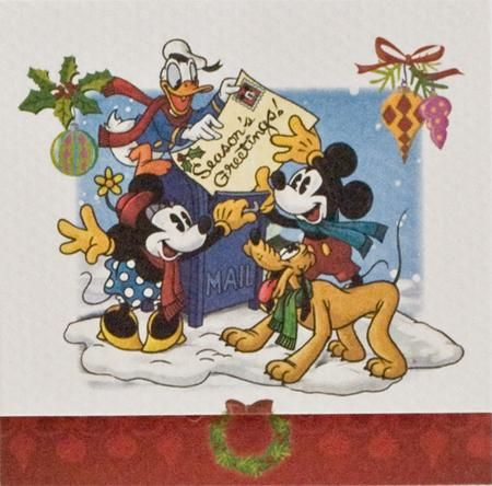 Julepakkekort med Anders And, Mickey, Minnie Mouse og Pluto, 7,5x7,5 cm